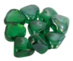 Glass ornaments hearts green