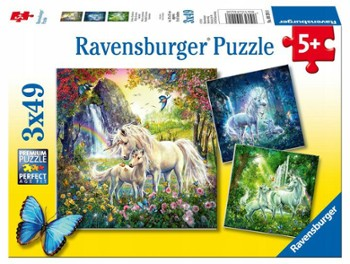 RAVENSBURGER puzzle 3x49  jednorożce
