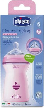CHICCO butelka natural feeling 330ml róż