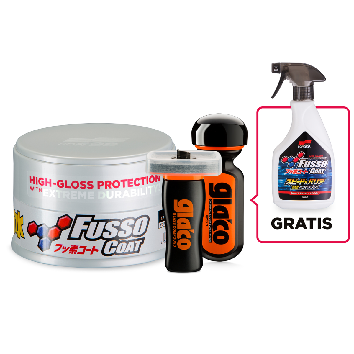 SOFT99 Ultimate Set Fusso Coat Light + Ultra Glaco+Glass Compound + Fusso Coat Speed&Barier