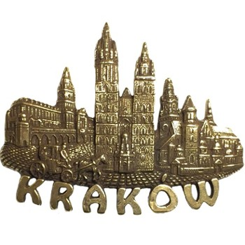 Metal magnet (gold) Krakow POL-MM-072