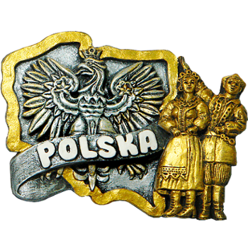 Polyresin magnet. Map mono. Poland