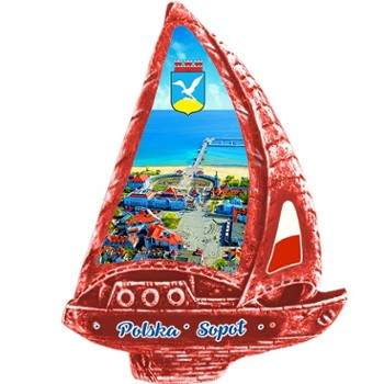 Polyresin magnet. (red) Sopot.