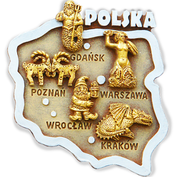 Polyresin magnet. Map. Poland