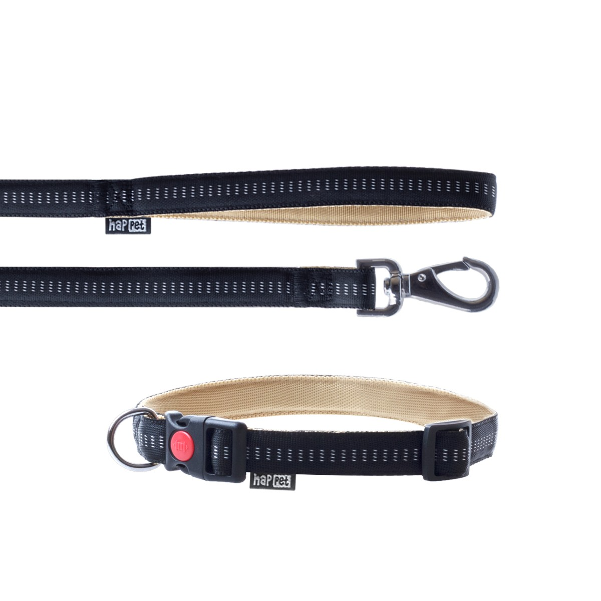 Nylon S Leash & Collar Set / Soft Style / Black - Happet JB41