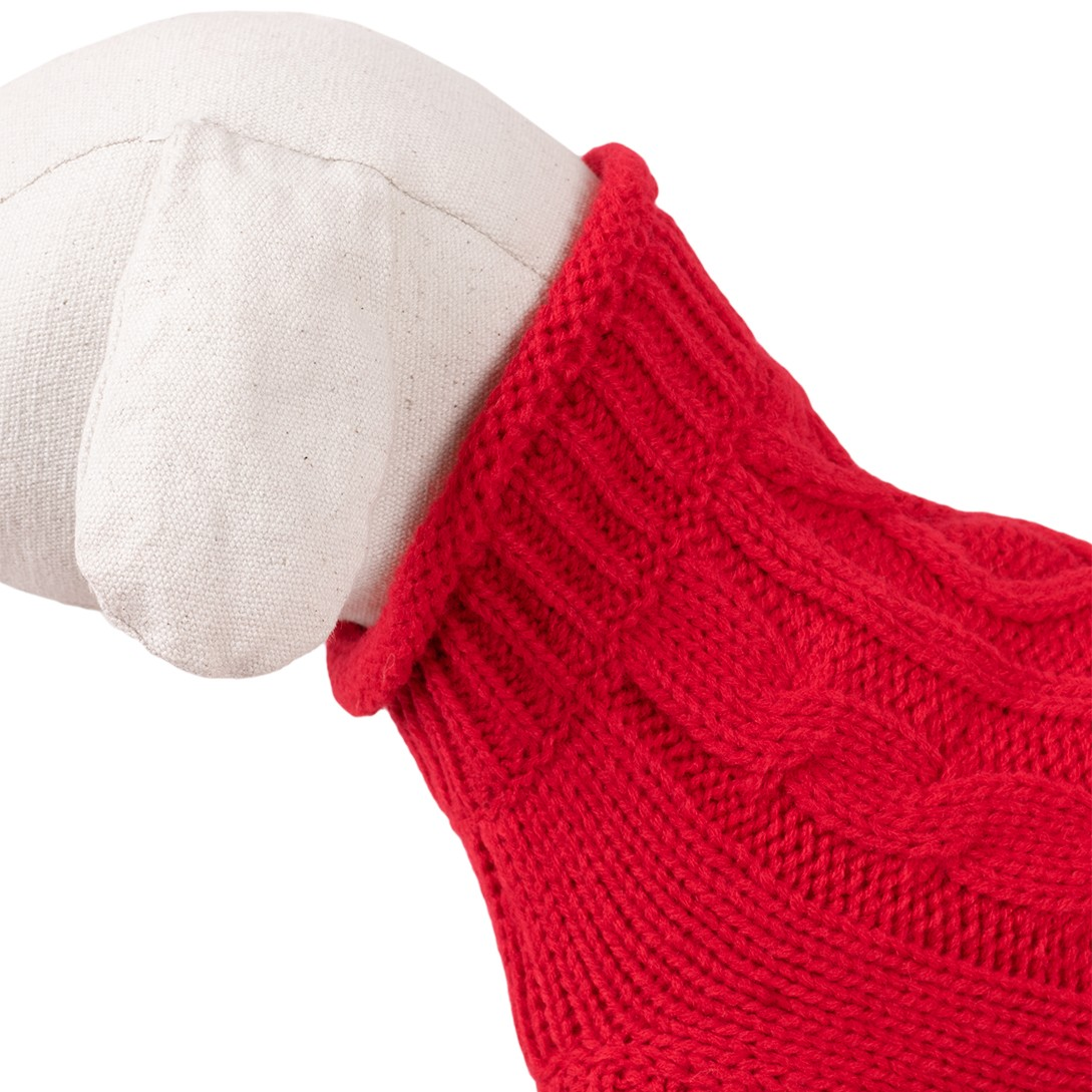 Dog Sweater / Knitted Pattern - Happet 51XL - Red XL - 40cm