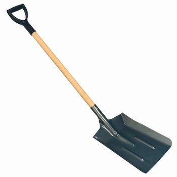 Wood handle square shovel
