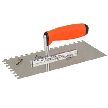 Tiling trowel, stainless steel, soft-grip handle