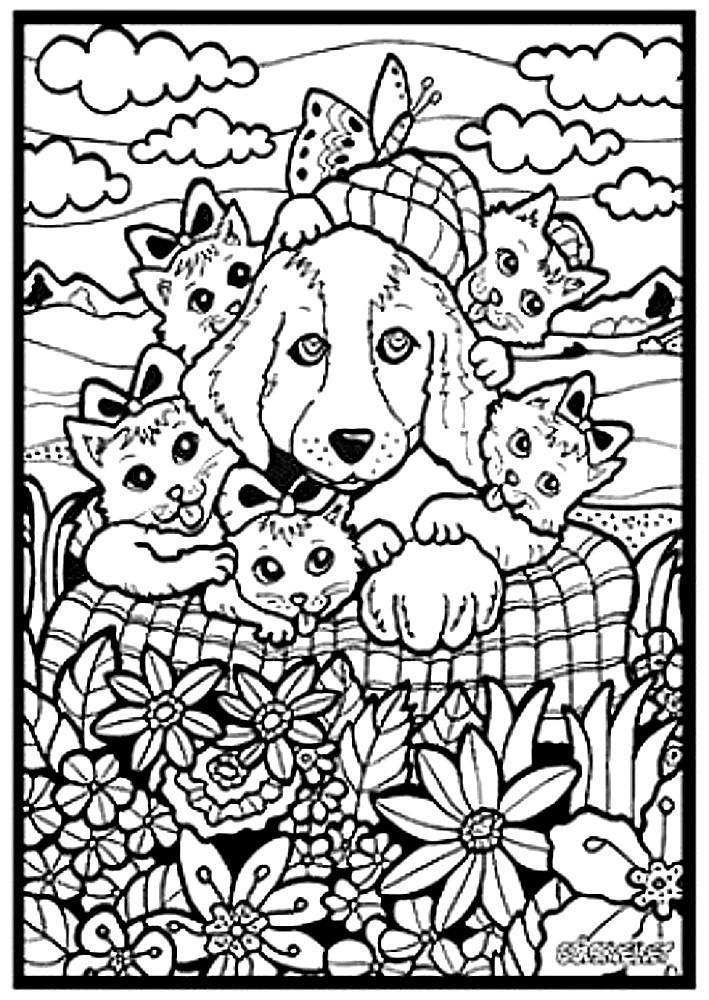 Kolorowanka Welwetowa 29 7x21 Pies Kotki Malowanalala