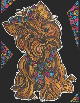 Kolorow. Welw. 29,7x21 Yorkshire Terrier