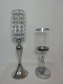 Glass candle holders with cristals