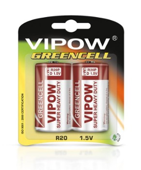 Baterie VIPOW GREENCELL R20 2 szt/bl