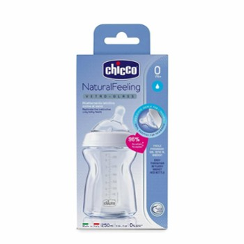 CHICCO butelka szklana 250ml. natural