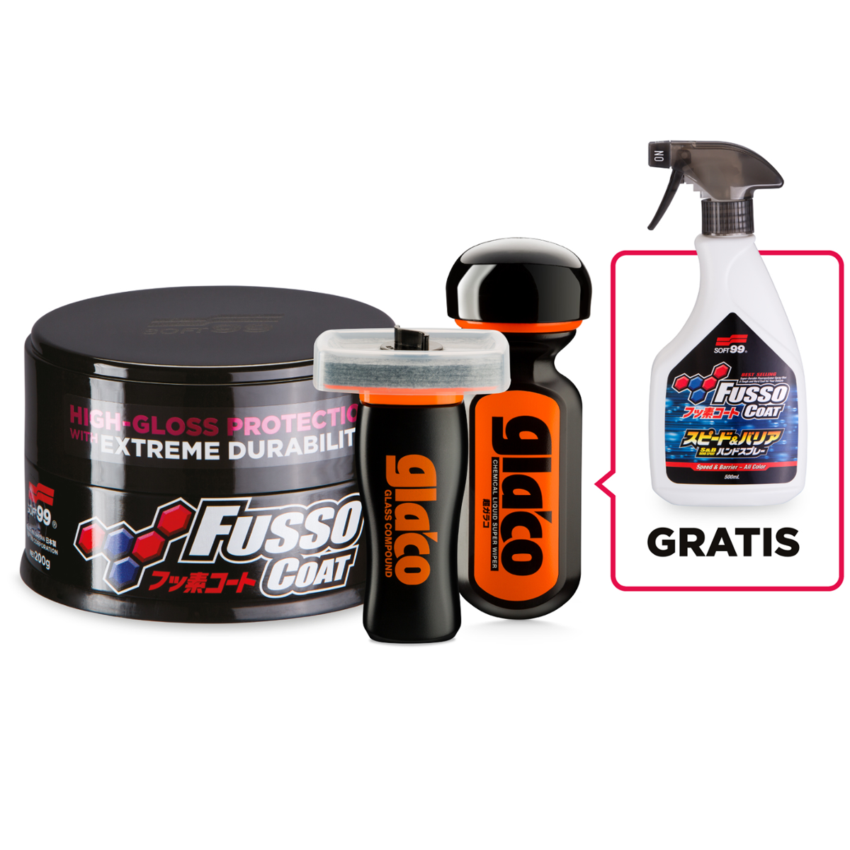 SOFT99 Ultimate Set Fusso Coat Dark + Ultra Glaco+Glass Compound + Fusso Coat Speed&Barier