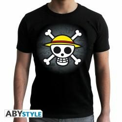 ONE PIECE T SHIRT SKULL WITH MAP BLACK