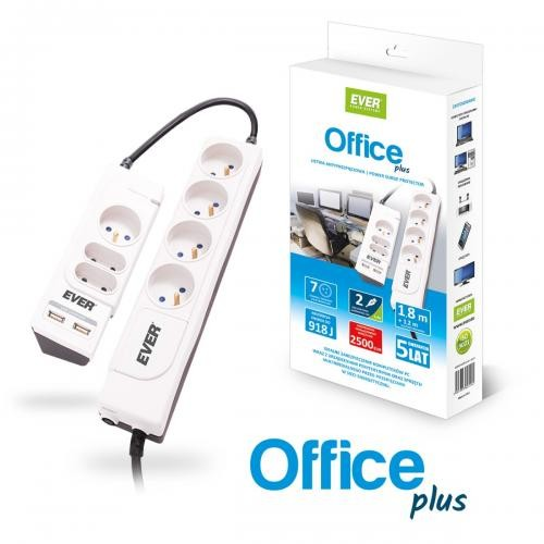 Listwa EVER Office plus 2xUSB