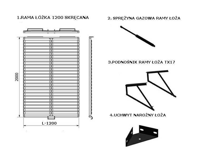Rama łóżka 120 Skręcana 1190x2000cm Internetowy Sklep Meblarski
